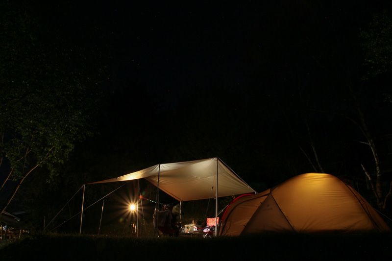 キャンプ・キャンプレビュー・キャンプ場・信州まるべりーオートキャンプ場・夜のキャンプ