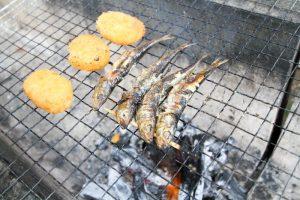 キャンプ飯 - イワシとクリームコロッケ